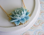 Teal rose flower cabochon, gold plated necklace