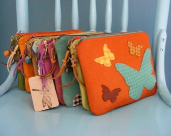 Turquoise butterfly applique, wool felt wallet and credit cards holder.