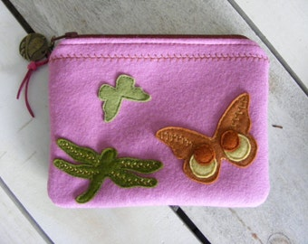 Butterflies and dragonfly applique wool felt wallet or cosmetic pouch