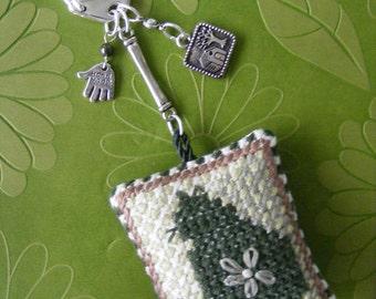 Cat cross stitched cushion keychain or purse charm