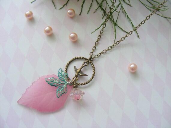 Romantic style plum leaf antique brass necklace