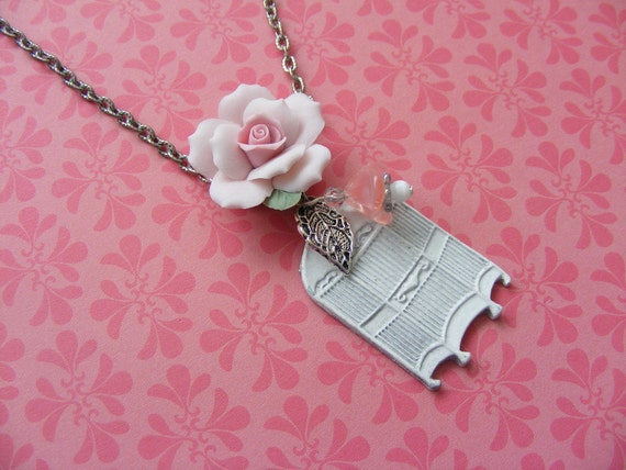 Romantic style bird cage antique silver necklace