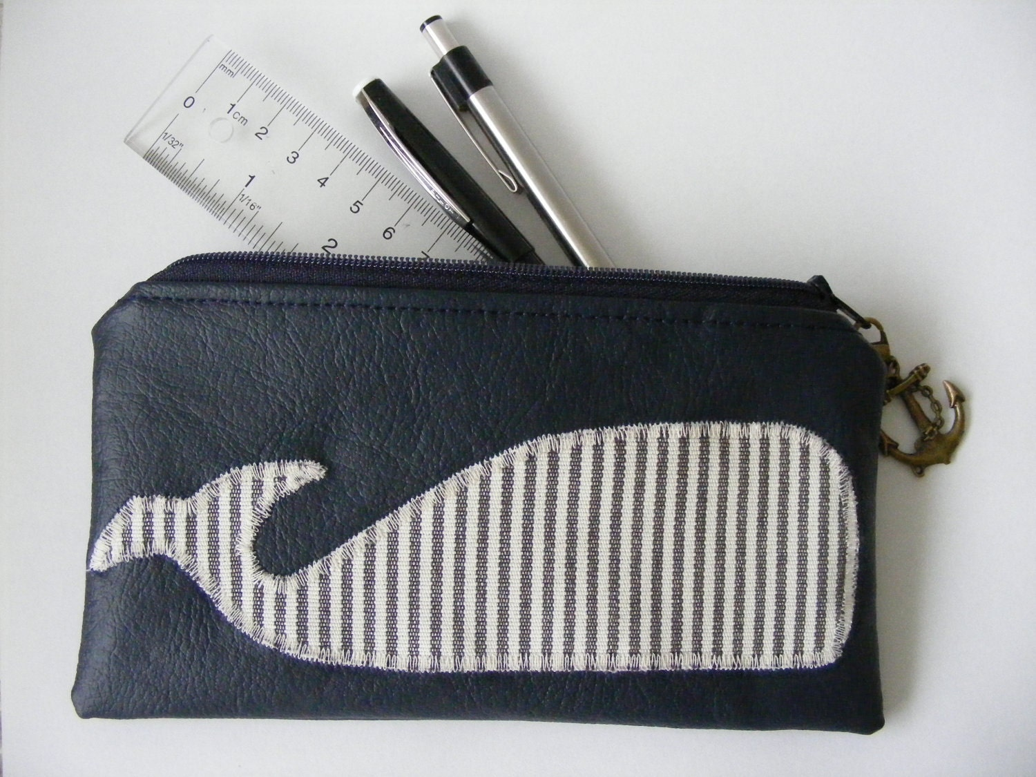 Whale Applique Cosmetic Pencil Case