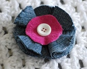 Hair Clip, denim and corduroy flower, blue and pink