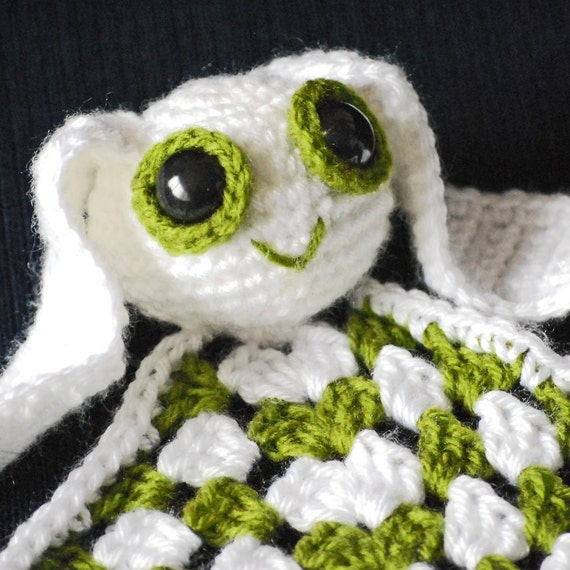 Crochet Rabbit Lovey Security Blanket Easter Bunny Toy