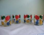 Fun Set of Four Vintage Retro Polka Dot Drinking Glasses Primary Colors