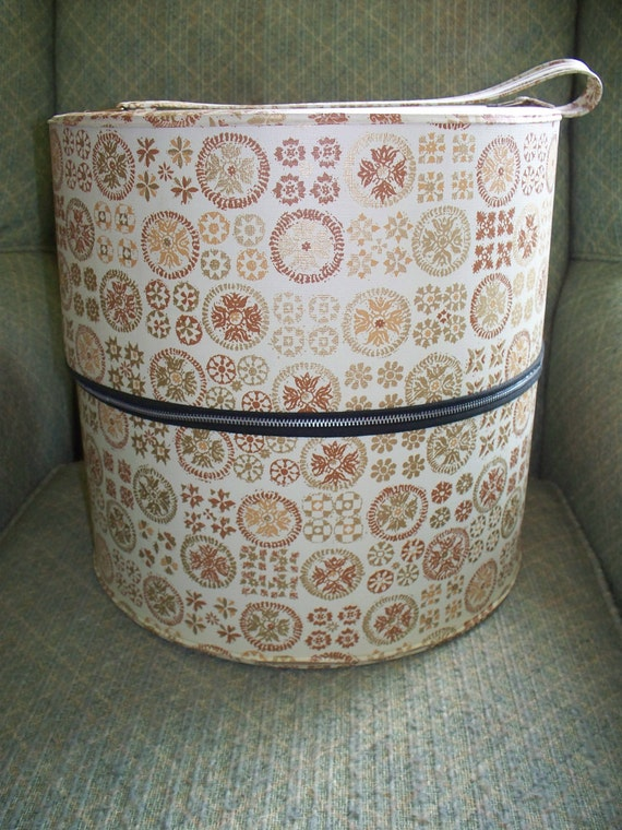Large Vintage Vinyl Wig Box or Hat Box Cream Color with Brown and Gold Medallion Designs