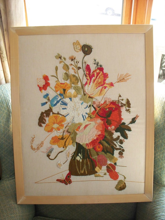 Beautiful Large Vintage Handmade Crewel Needlepoint Wall Hanging Flowers in a Vase