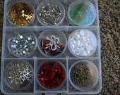 Christmas Embellishment box for card making and scrapbooking, flowers, rhinestones, charms, flatbacks, sequins