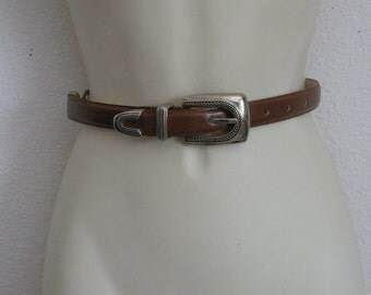 Vintage J G Hook brown Leather Belt Silver accents Skinny Brown Belt