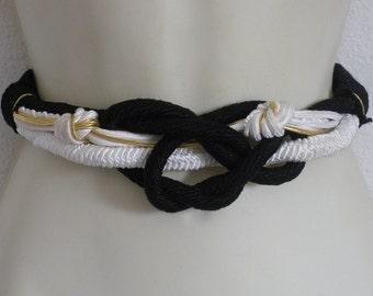 Reduced by 2.50 Vintage Black White gold Cording Belt Designer Susan Madox Cord Belt