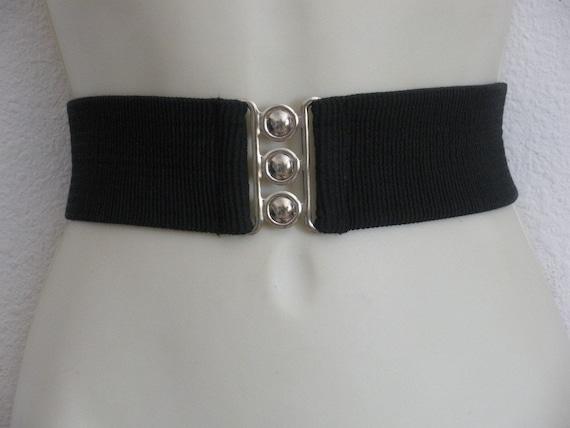 vintage black stretch belt elastic belt wide black cinch belt