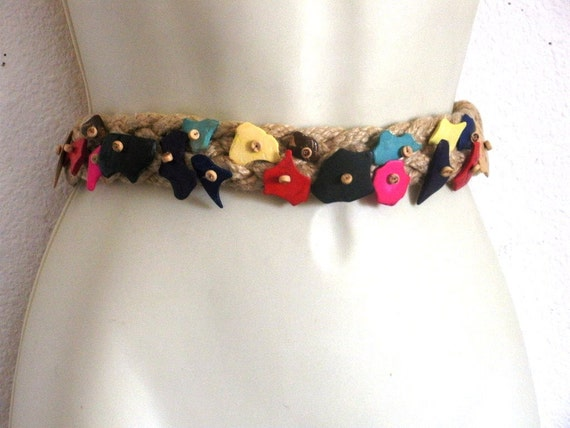 Vintage Jute Cinch Belt with Multicolored wood whimsical pieces Cream Cinch Belt...Price slashed by 50%