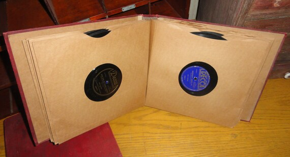 Collection of 78 RPM Records in a Book of Sleeves