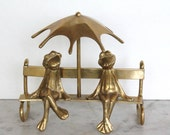 Vintage Brass Frog and Toad are Friends