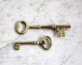 Reserved. Vintage Pair of Solid Brass Keys