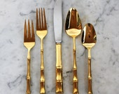 Vintage Gold Bamboo Flatware 40 Piece Place Setting.  Free Domestic and International Shipping