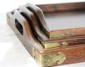 VIntage Trio of Wood and Brass Serving Trays. FREE SHIPPING Black Friday Etsy/ Cyber Monday SALE