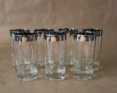 Silver Rimmed Cocktail Glasses, Set of 7 Highballs.