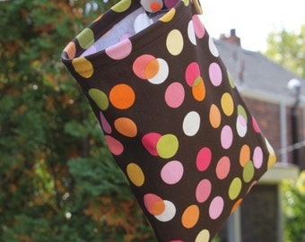 Clothespin Bag Handmade - Polka Dots by Pink Tag Original Stay Open Design
