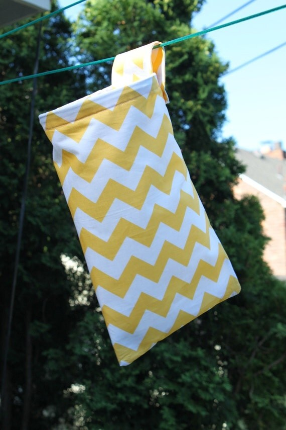 Hanging Organization or Clothespin Bag - Riley Blake Chevron Stripe Fabric Handmade by Pink Tag