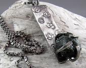 Raw Green Tourmaline Sacred Symbol Sterling Silver Pendant