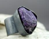 Sugilite Oxidized Silver Ring