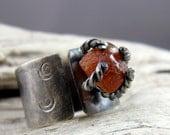 Hessonite Garnet Spiral Design Silver Ring