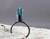 Aqua Aura Quartz Points Ring