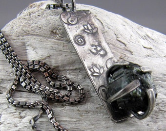 Raw Green Tourmaline Sacred Symbol Sterling Silver Pendant