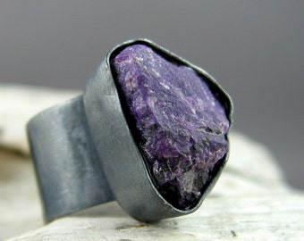 Sugilite Oxidized Silver Ring