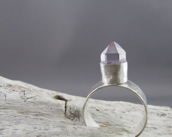 Amethyst Crystal Tower Silver Ring