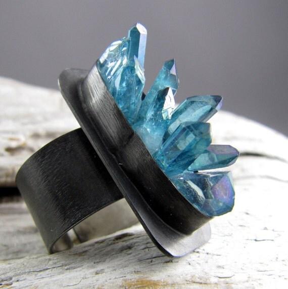 Aqua Aura Quartz Points Silver Ring