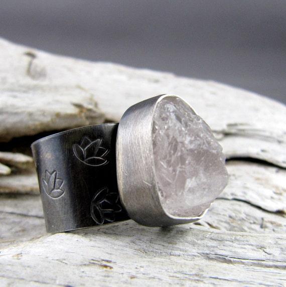 Morganite Silver Lotus Design Ring