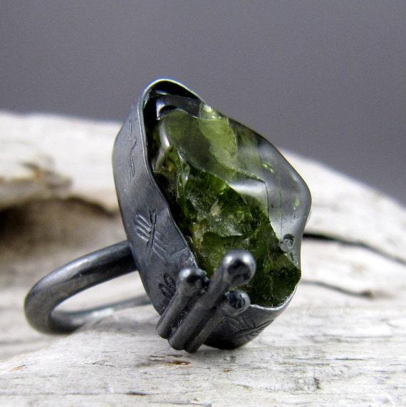 Peridot Dragonfly Design Silver 'Renewal' Ring