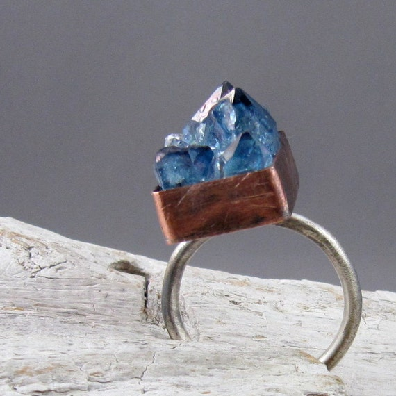Tanzine Quartz Crystal Copper and Silver Ring