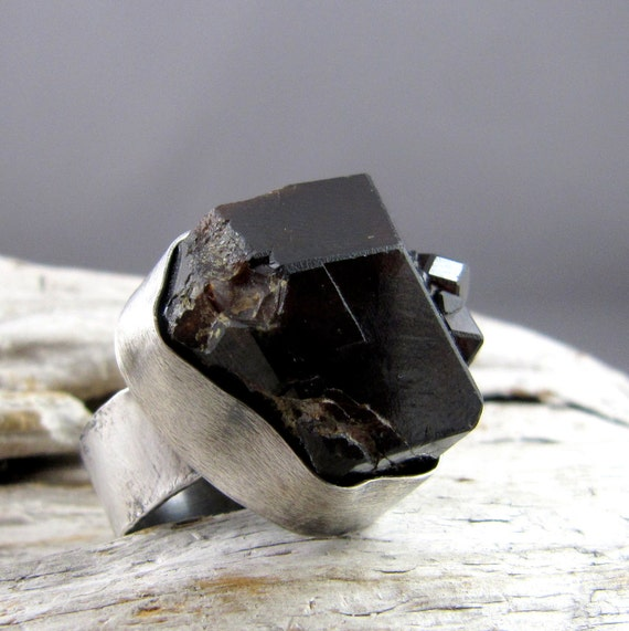 Raw Garnet Rustic Silver Ring