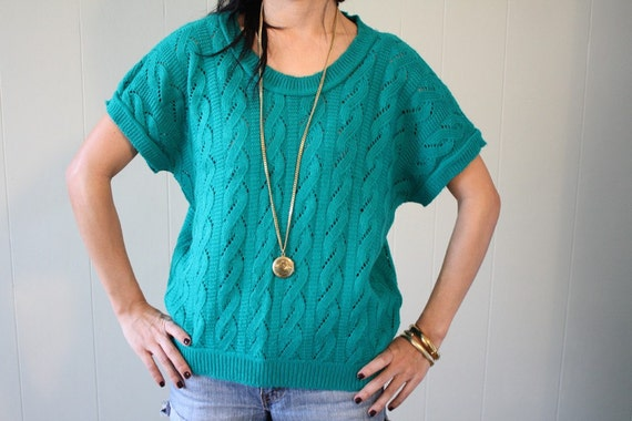 NOW 50% OFF 80s Teal Sweater Top size s