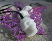 Butterfly Skull Ornaments - 3 Ornaments - Pink Butterfly Wings