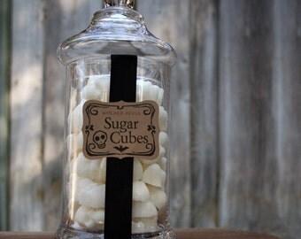 Sugar Skull Valentine Apothecary Jar - 50 Skull Shaped Sugar Cubes Sugar Skull