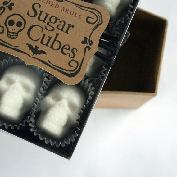 "Sugar Cube Skulls ""the original"" since 2010 - box of nine sugar skulls skull sugar cubes Gothic Valentine"