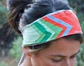 RESERVED Orange & Green Chevron Headband