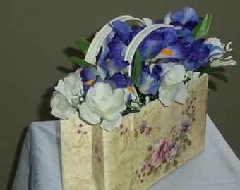 Silk Floral Metal Purse Look Centerpiece