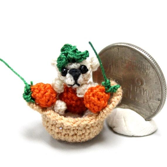 orange basket teddy bear miniature micro tiny Crocheted Thread OOAK dollhouse