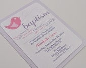 Bird Baptism Invitations for Girl