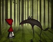 Little red riding hood meets the wolf in the forest - Illustration print (4.7x4.7)