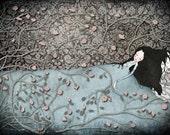 "Sleeping Beauty - Illustration print (size 7"" x 5"")"