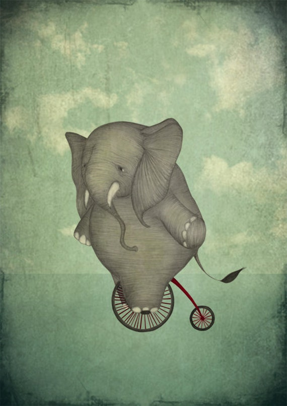Elephant on a bike - Art print (3 different sizes)