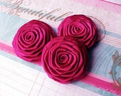 Handmade Satin Roses in Brilliant Fuchsia for hair accessories, applique, wedding supplies, scrapbook and other DIY projects
