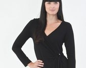 Size XSmall  Black Wrap Dress Long Sleeves